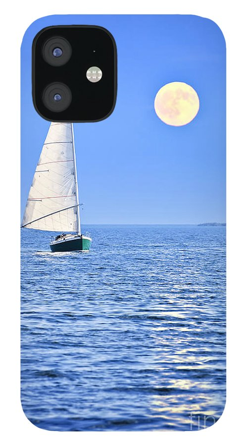 Sail IPhone 12 Case featuring the photograph Sailboat at full moon by Elena Elisseeva