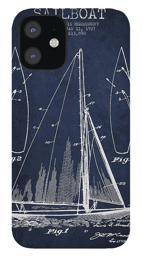 Sailboat IPhone 12 Case featuring the digital art Sailboat Patent Drawing From 1927 by Aged Pixel