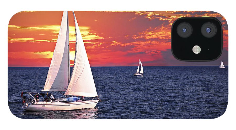 Boat IPhone 12 Case featuring the photograph Sailboats at sunset by Elena Elisseeva