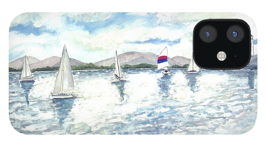 Sailboats IPhone 12 Case featuring the painting Sailboats by Derek Mccrea