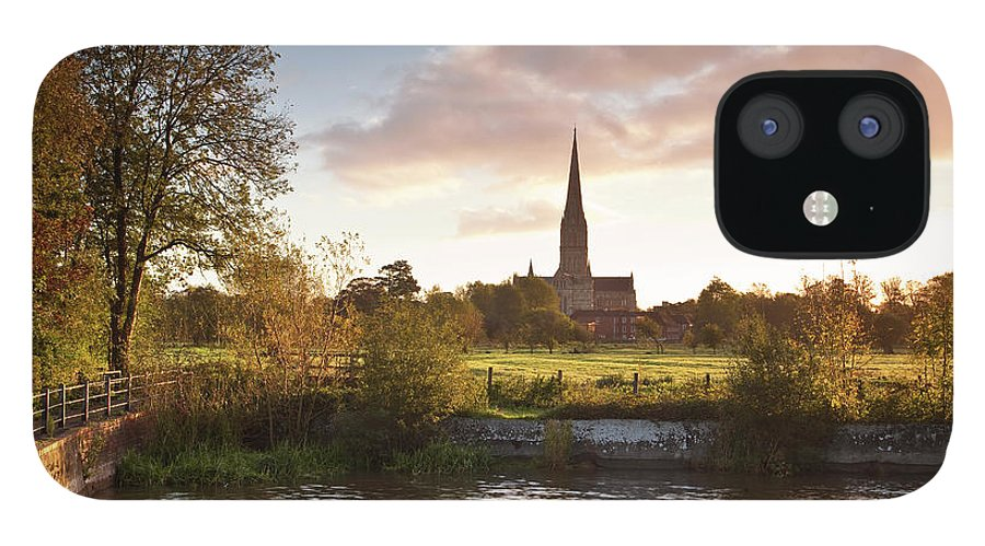 Tranquility IPhone 12 Case featuring the photograph Salisbury Cathedral And The River Avon by Julian Elliott Photography