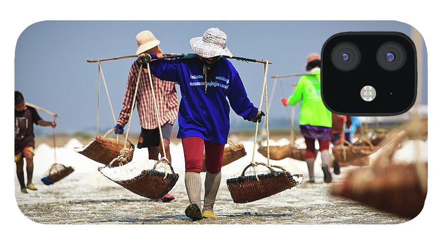 Child iPhone 12 Case featuring the photograph Salt Farm In Thailand by Monthon Wa