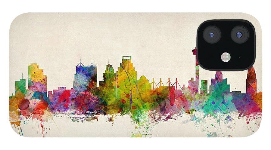 Watercolour IPhone 12 Case featuring the digital art San Antonio Texas Skyline by Michael Tompsett