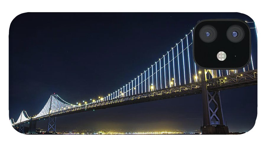 California IPhone 12 Case featuring the photograph San Francisco Bay Bridge With Led Lights by Halbergman