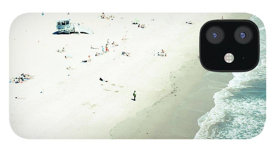 Water's Edge IPhone 12 Case featuring the photograph Santa Monica Beach by Angela Auclair