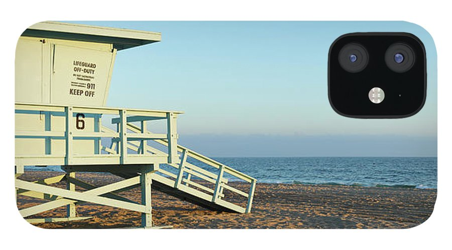 Water's Edge IPhone 12 Case featuring the photograph Santa Monica Lifeguard Station by S. Greg Panosian