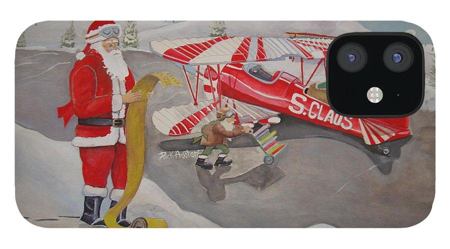 Rick Huotari iPhone 12 Case featuring the painting Santa's Airport by Rick Huotari