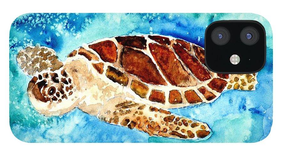 Sea Turtle IPhone 12 Case featuring the painting Sea Turtle by Derek Mccrea