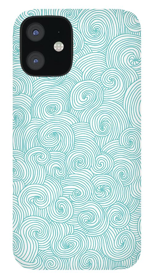 Curve IPhone 12 Case featuring the digital art Seamless Pattern Of Doodle Swirls And by Beastfromeast