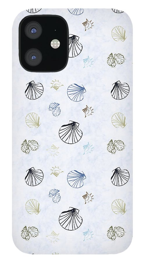 Seashell iPhone 12 Case featuring the mixed media Seashell Pattern by Christina Rollo