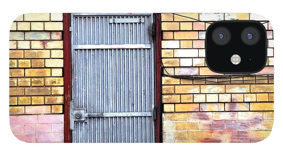 #door #brick Wall #graffiti IPhone 12 Case featuring the photograph Security Gate by Julie Gebhardt