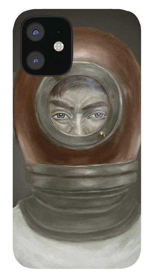 Digital IPhone 12 Case featuring the digital art Self Portrait by Balazs Solti