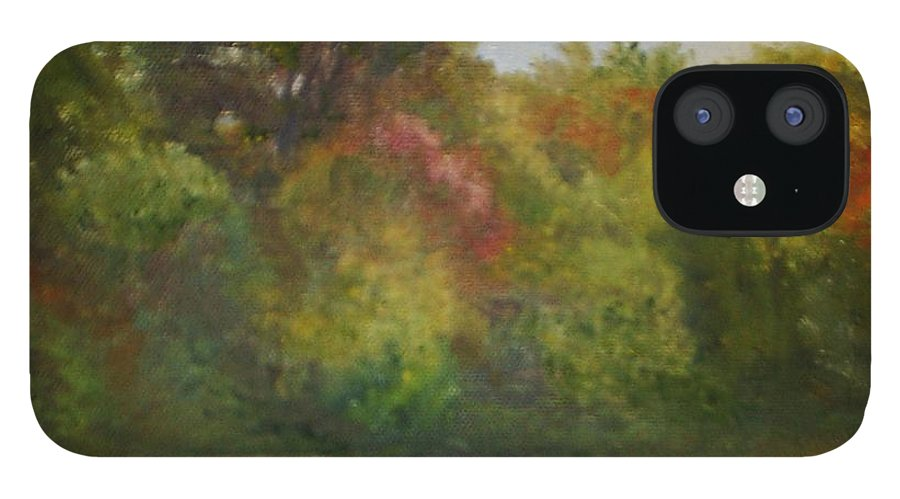 September IPhone 12 Case featuring the painting September at Smithville Park by Sheila Mashaw