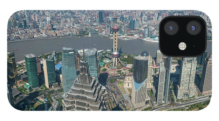 Chinese Culture IPhone 12 Case featuring the photograph Shanghai Aerial View Over Pundong by Fotovoyager
