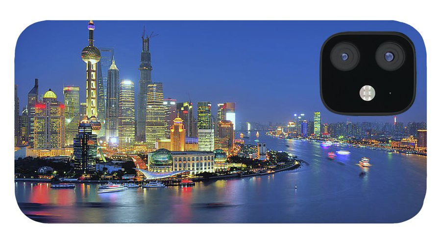 Clear Sky IPhone 12 Case featuring the photograph Shanghai Cityscape Across Huangpu River by Wei Fang