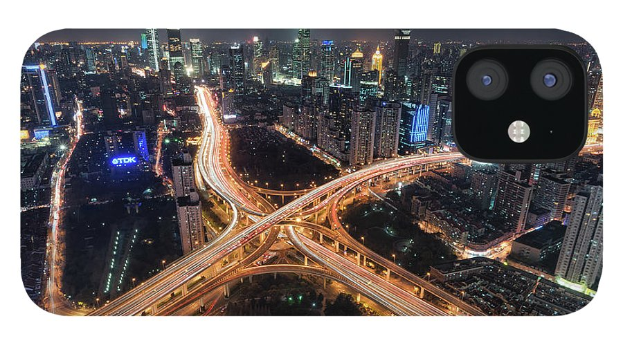 Built Structure IPhone 12 Case featuring the photograph Shanghai Highway Stack Interchange And by Hugociss