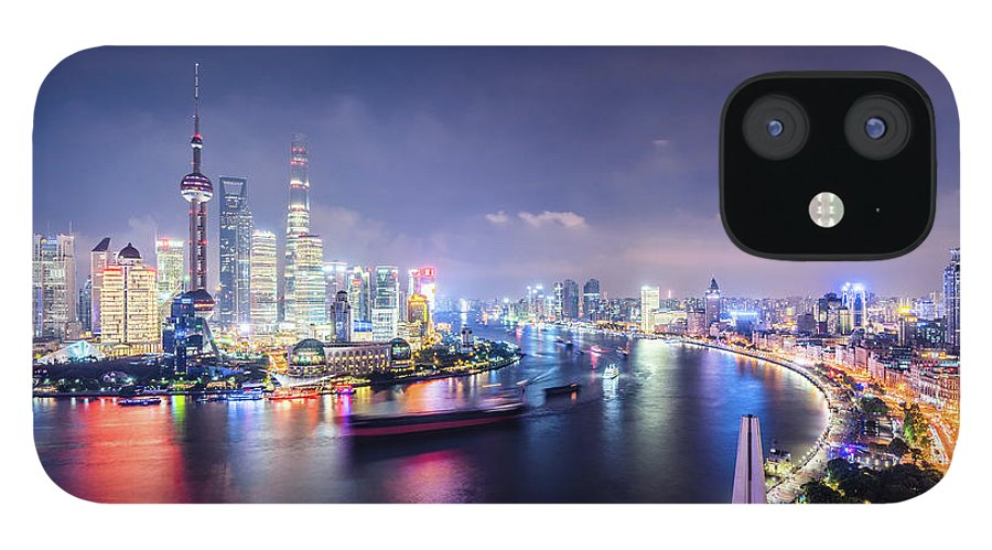 Downtown District IPhone 12 Case featuring the photograph Shanghai Skyline At Night by Yongyuan Dai