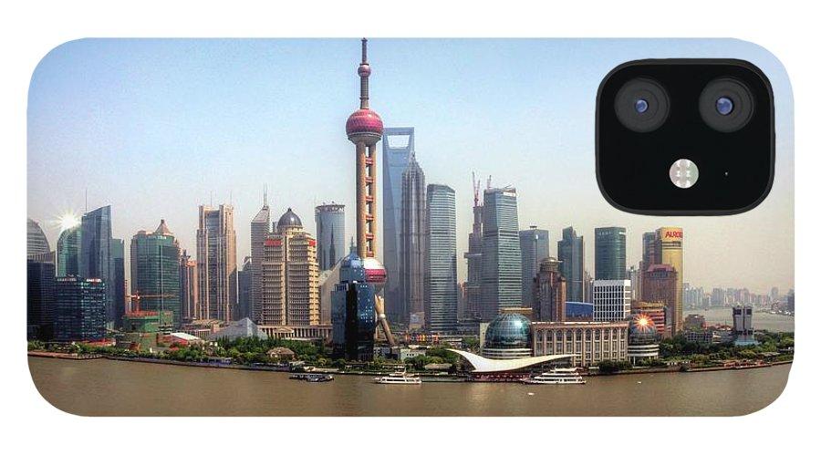 Outdoors IPhone 12 Case featuring the photograph Shanghai Skyline by Mariusz Kluzniak