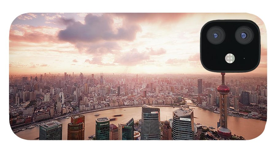 Tranquility IPhone 12 Case featuring the photograph Shanghai With Drifting Clouds by Blackstation