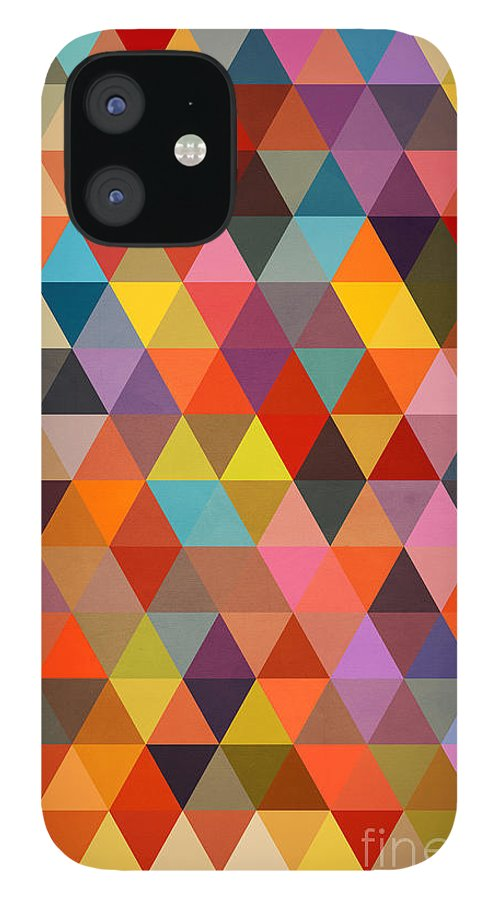 Contemporary IPhone 12 Case featuring the painting Shapes by Mark Ashkenazi