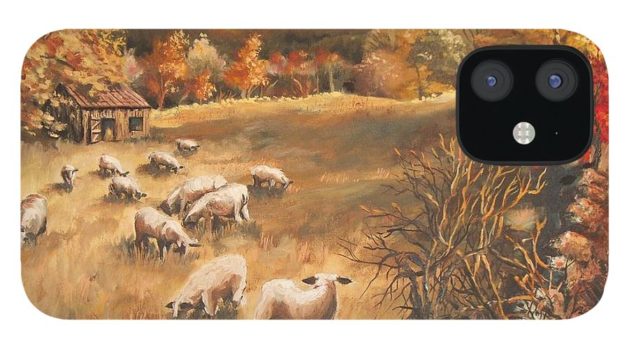 Oil Painting IPhone 12 Case featuring the painting Sheep in October's field by Joy Nichols