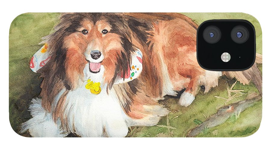 <a Href=http://miketheuer.com Target =_blank>www.miketheuer.com</a> Sheltie On Lawn Watercolor Portrait IPhone 12 Case featuring the drawing Sheltie On Lawn Watercolor Portrait by Mike Theuer
