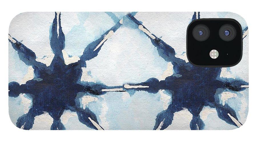 Shibori IPhone 12 Case featuring the digital art Shibori II by Elizabeth Medley
