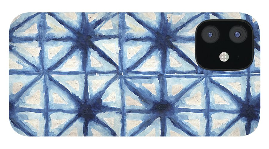 Shibori IPhone 12 Case featuring the digital art Shibori Iv by Elizabeth Medley