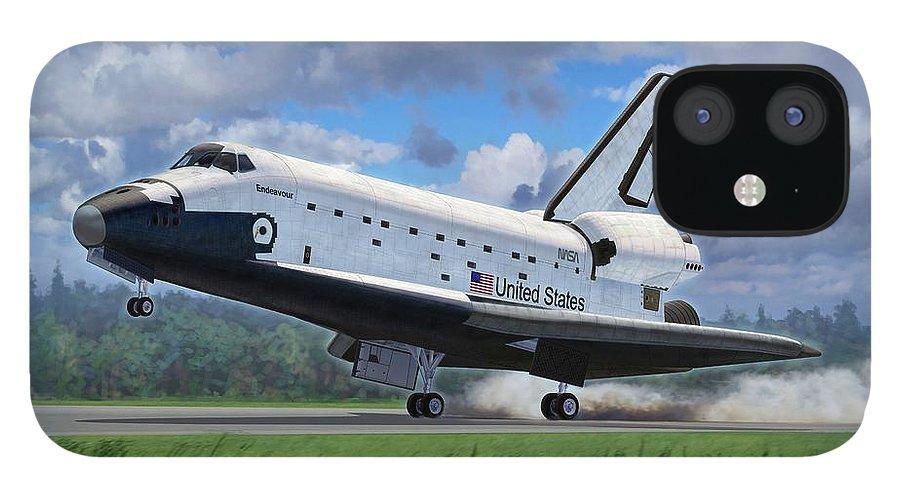 Space iPhone 12 Case featuring the digital art Shuttle Endeavour Touchdown by Stu Shepherd