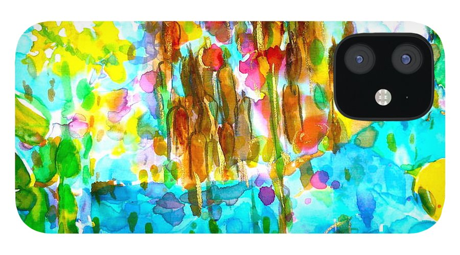 Silk Vibrant Painting IPhone 12 Case featuring the painting Silken Pond by Phoenix Simpson