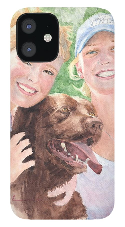 <a Href=http://miketheuer.com Target =_blank>www.miketheuer.com</a> Sisters & Chocolate Lab In Sun Watercolor Portrait IPhone 12 Case featuring the painting Sisters And Chocolate Lab In Sun Watercolor Portrait by Mike Theuer