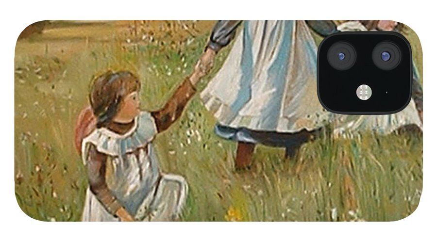 Classic Art IPhone 12 Case featuring the painting Sisters by Silvana Abel