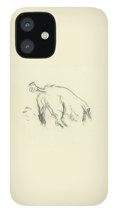 Sketch Of A Dog Digging A Hole IPhone 12 Case