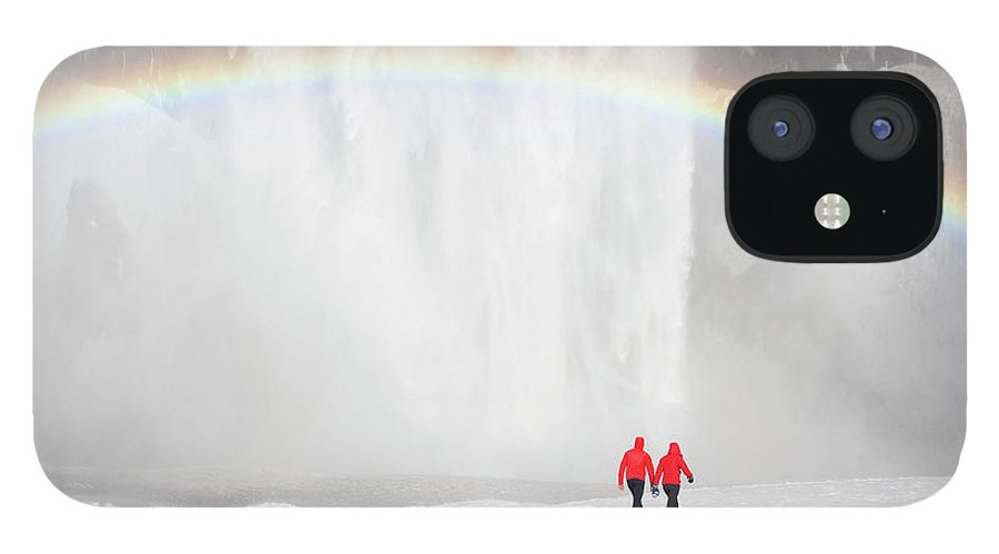 Scenics IPhone 12 Case featuring the photograph Skogafoss Waterfall, Iceland by Travelpix Ltd