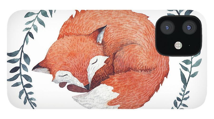 Pets IPhone 12 Case featuring the digital art Sleeping Fox by Juliia Tochilina