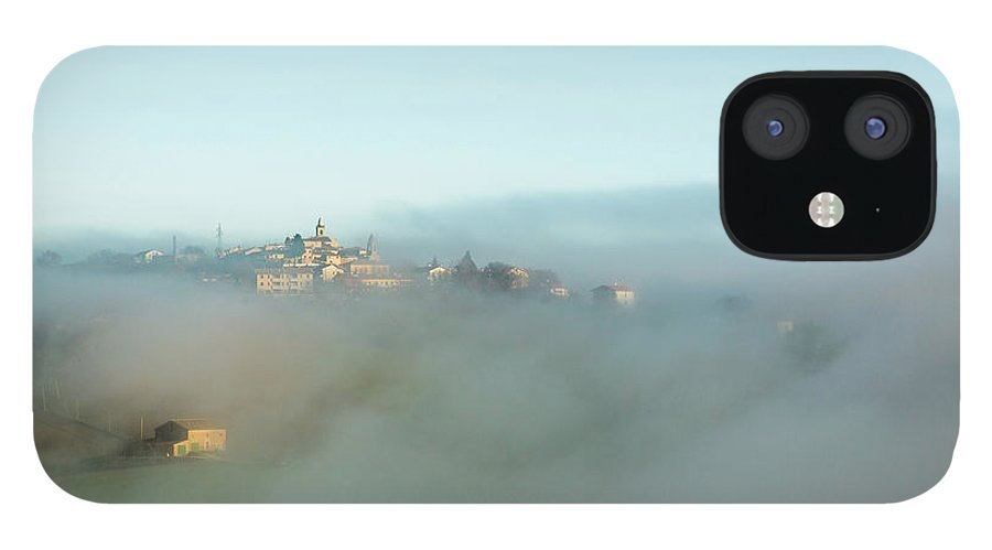 Scenics iPhone 12 Case featuring the photograph Small Italian Village In The Fog by Deimagine