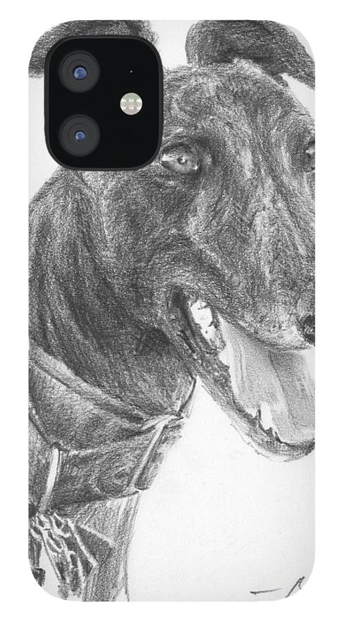 <a Href=http://miketheuer.com Target =_blank>www.miketheuer.com</a> Smiling Greyhound Pencil Portrait IPhone 12 Case featuring the drawing Smiling Greyhound Pencil Portrait by Mike Theuer