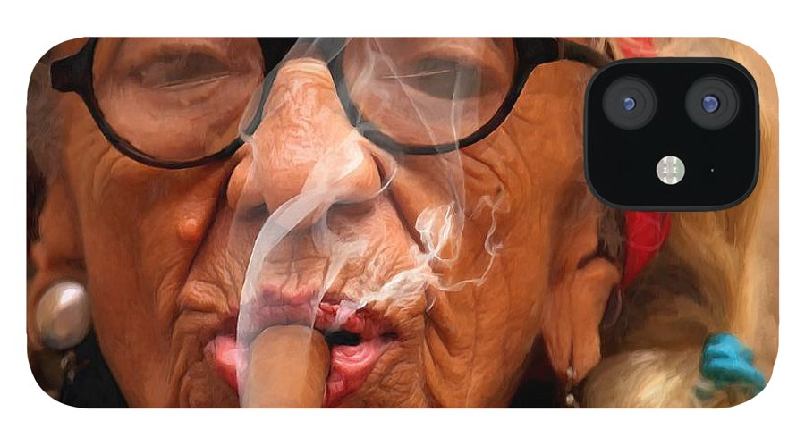Smoking iPhone 12 Case featuring the digital art Smoking - Caribbean Serie by Gabriel T Toro