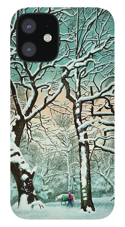 People IPhone 12 Case featuring the digital art Snow In Forest by Georgette Douwma