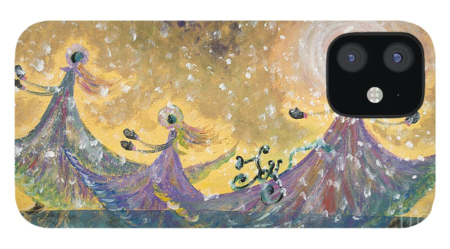 Joy iPhone 12 Case featuring the painting Snow Joy by Nadine Rippelmeyer