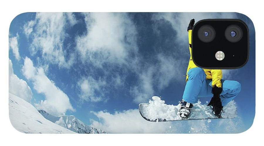 Young Men IPhone 12 Case featuring the photograph Snowboarding by Yulkapopkova