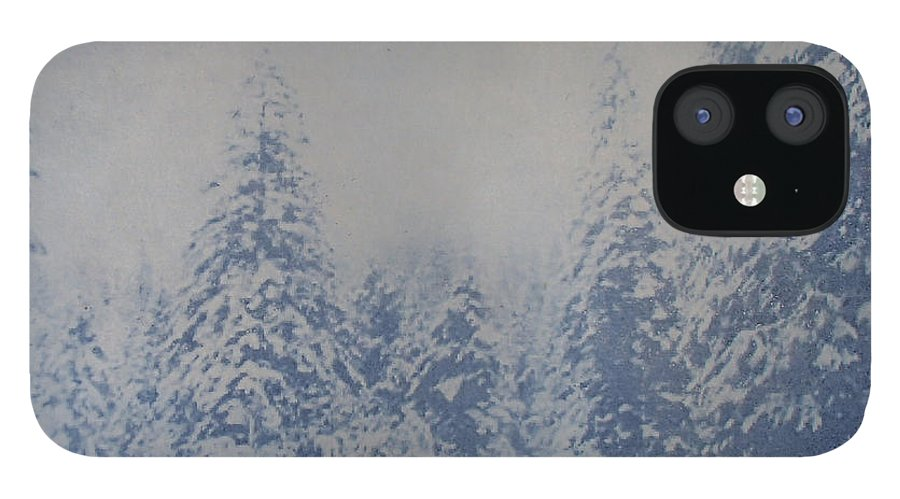 Yosemite IPhone 12 Case featuring the painting Snowfall in Blue by Philip Fleischer