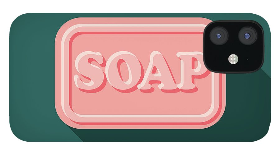 Art IPhone 12 Case featuring the digital art Soap Flat Design Cleaning Icon With by Bortonia