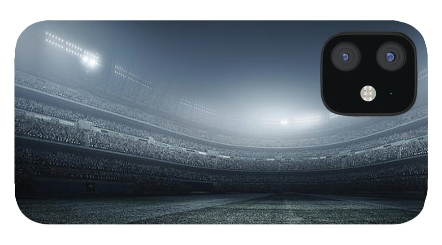 Soccer Uniform IPhone 12 Case featuring the photograph Soccer Player With Ball In Stadium by Dmytro Aksonov