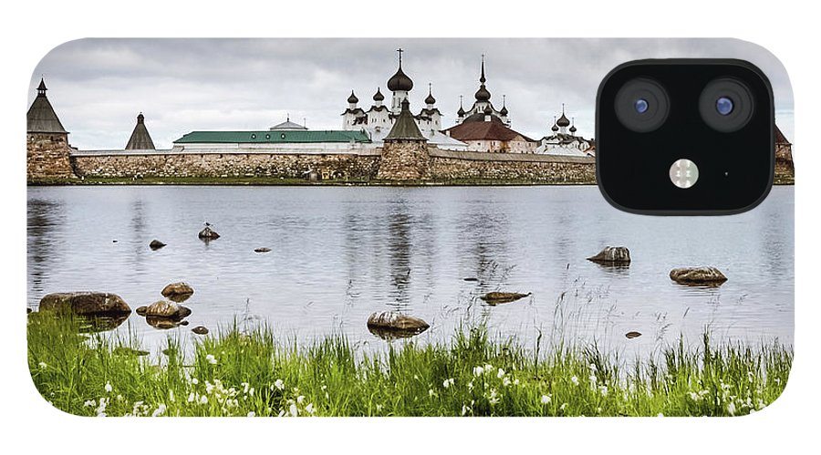Grass IPhone 12 Case featuring the photograph Solovetsky Monastery At Holy Lake by Mordolff