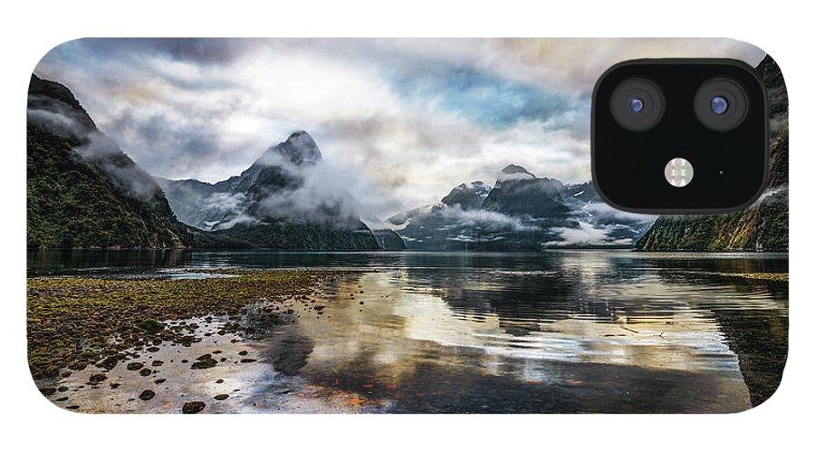 Scenics IPhone 12 Case featuring the photograph Sound Asleep   Fiordland, New Zealand by Copyright Lorenzo Montezemolo