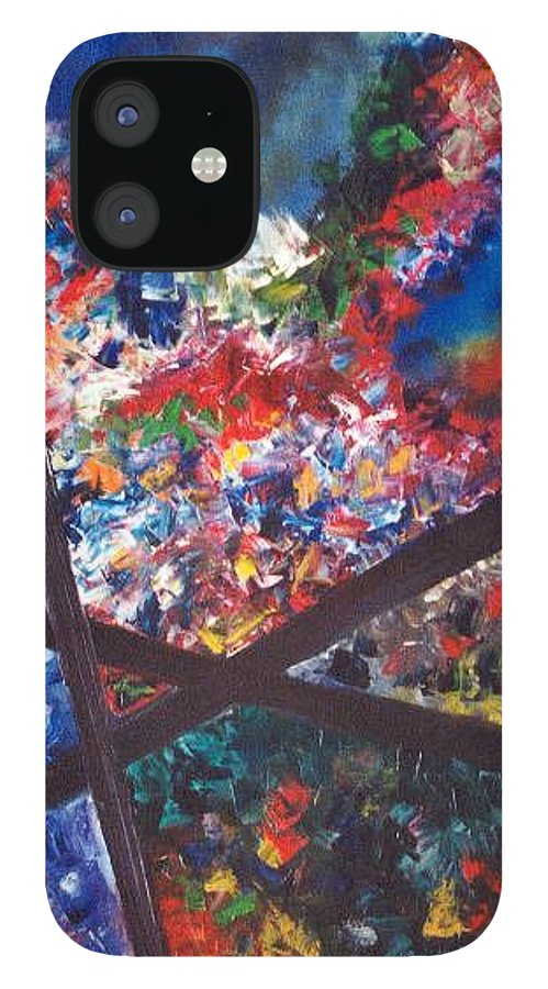 Abstract IPhone 12 Case featuring the painting Spectral Chaos by Micah Guenther