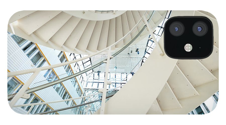 Steps IPhone 12 Case featuring the photograph Spiral Staircase Inside Office Complex by Blurra