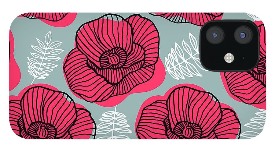 Flowerbed iPhone 12 Case featuring the digital art Spring Bright Seamless Floral Pattern by Ekaterina Bedoeva