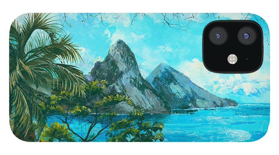 Mountains IPhone 12 Case featuring the painting St. Lucia - W. Indies by Elisabeta Hermann